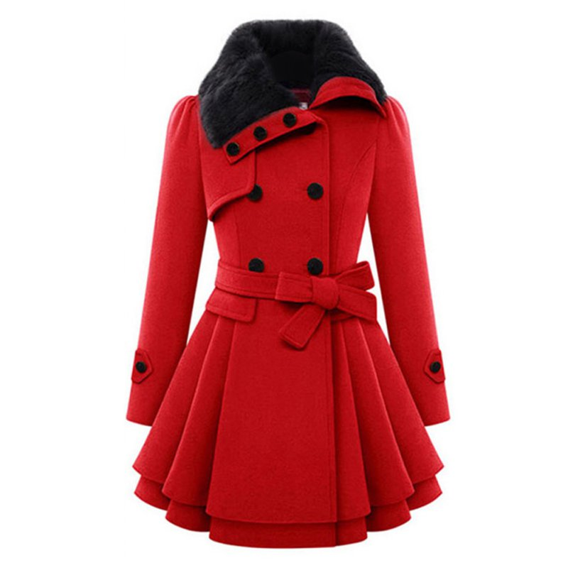 women trench coat ladies winter fur collar wool warm double breasted coat hot ebay. Black Bedroom Furniture Sets. Home Design Ideas