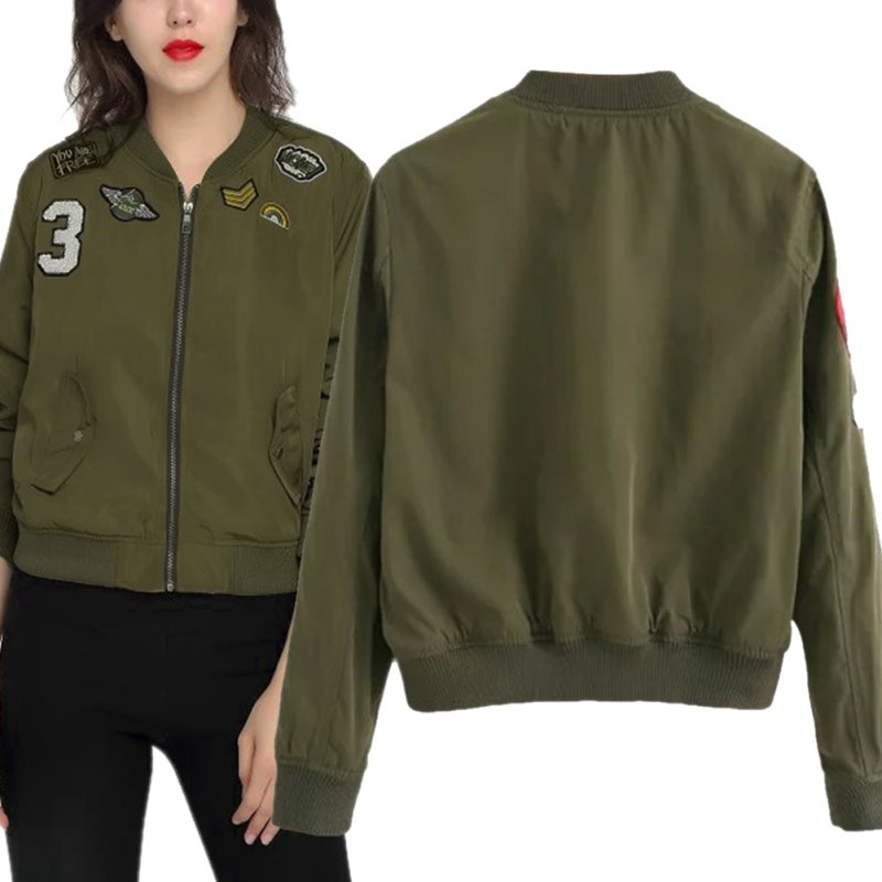 Women Bomber Jackets Flight Women Jacket Coats With Patches Army Green Fall | EBay