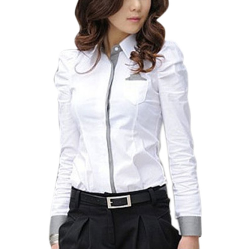 Women fashion korean style long sleeve shirt tops blouse for Womens white button down shirt