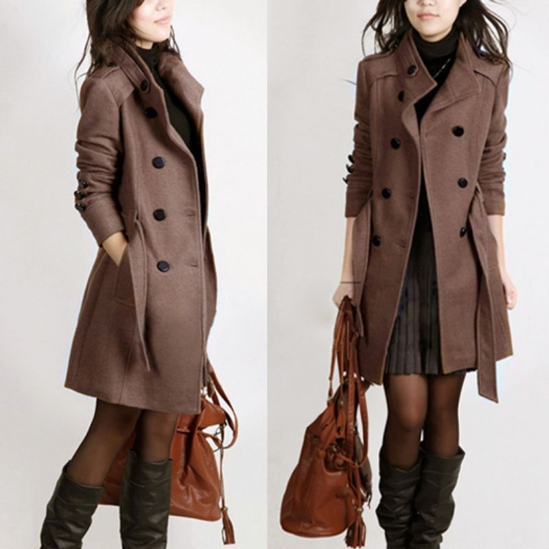Winter Women Double-breasted Long Slim Trench Parka Coat Outwear ...