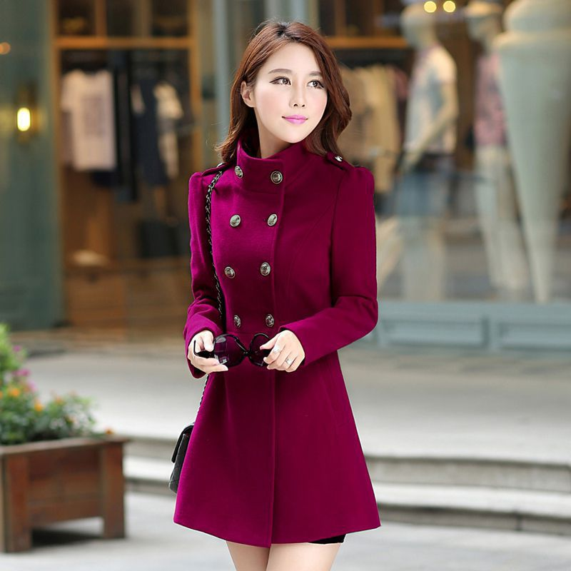 Fashion Women Winter Korean Long Coat Jacket Windbreaker Slim ...