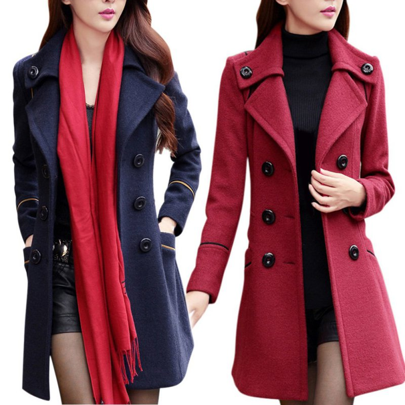 Women's Double Breasted Wool Trench Coat Slim Long Jacket Warm ...