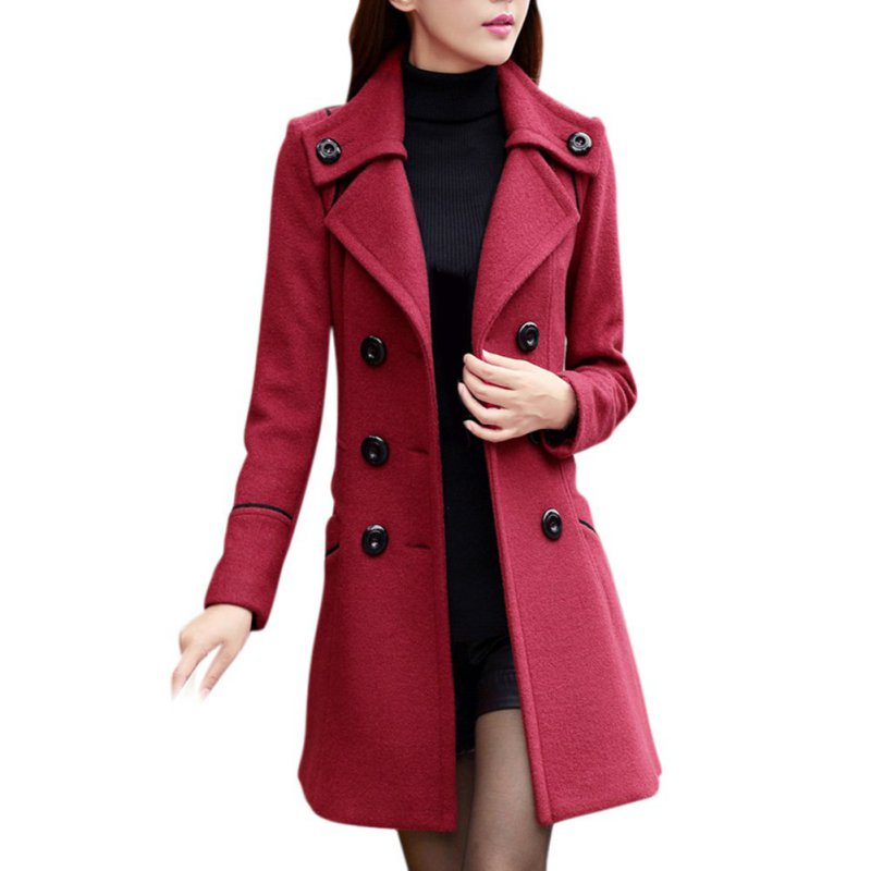 Completely new Women Double Breasted Wool Trench Coat Slim Long Jacket Warm  ZE28