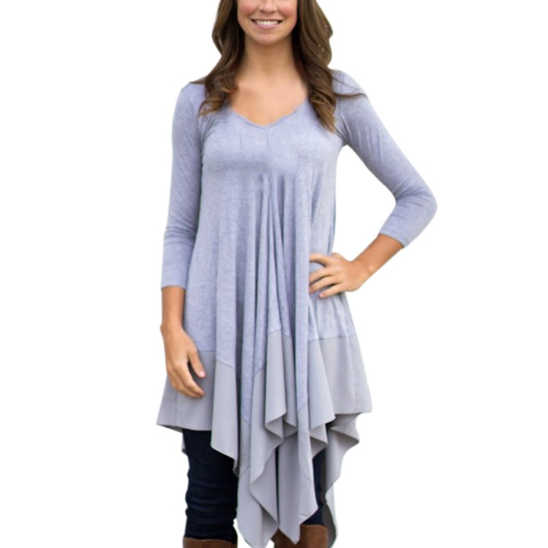 Women Casual Plain Long Sleeve V Neck Tunic T Shirt Loose