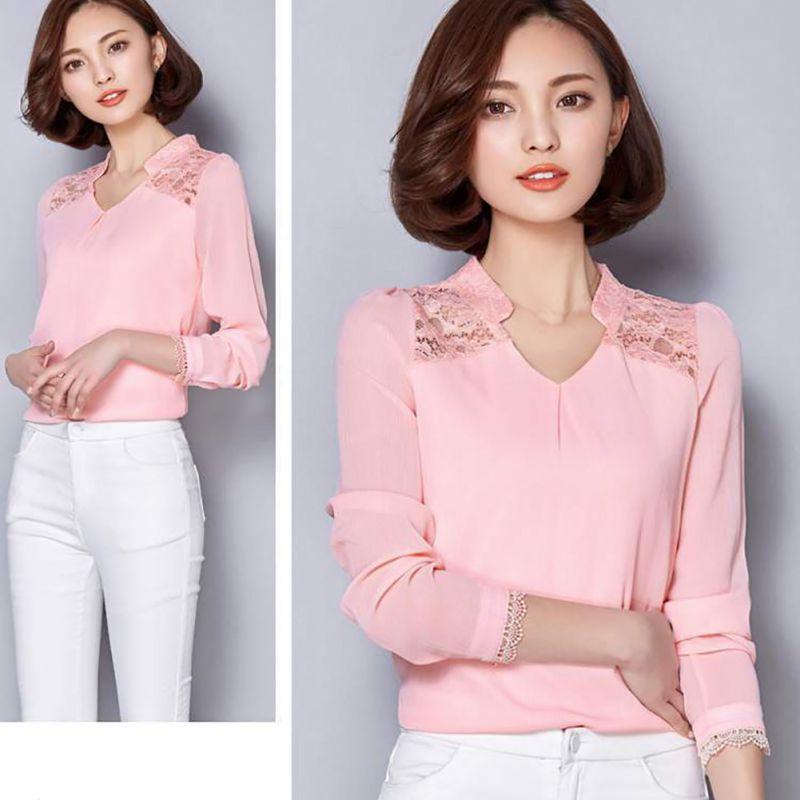 Fashion Women Sexy Long Sleeve Shirt Casual Lace Blouse Loose Chiffon Top TShirt