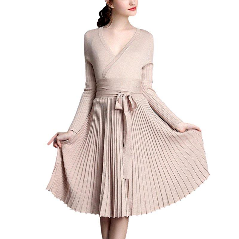 Knitting Dresses Women : Women sweaters dresses a line deep v belted pleated dress