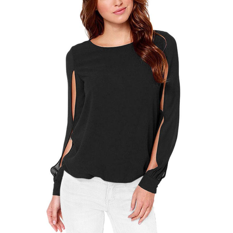 High quality women sexy chiffon long sleeve shirt blouse for Good quality long sleeve t shirts