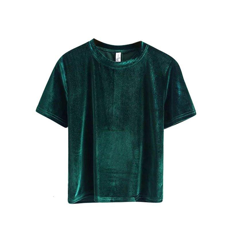 Women velvet loose basic t shirt short sleeve o neck crop for Basic shirts for women