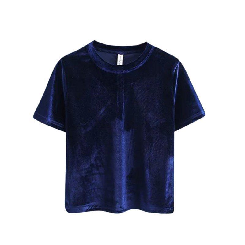 Women Velvet Loose Basic T-Shirt Short Sleeve O Neck Crop Tops Tee Casual Blouse