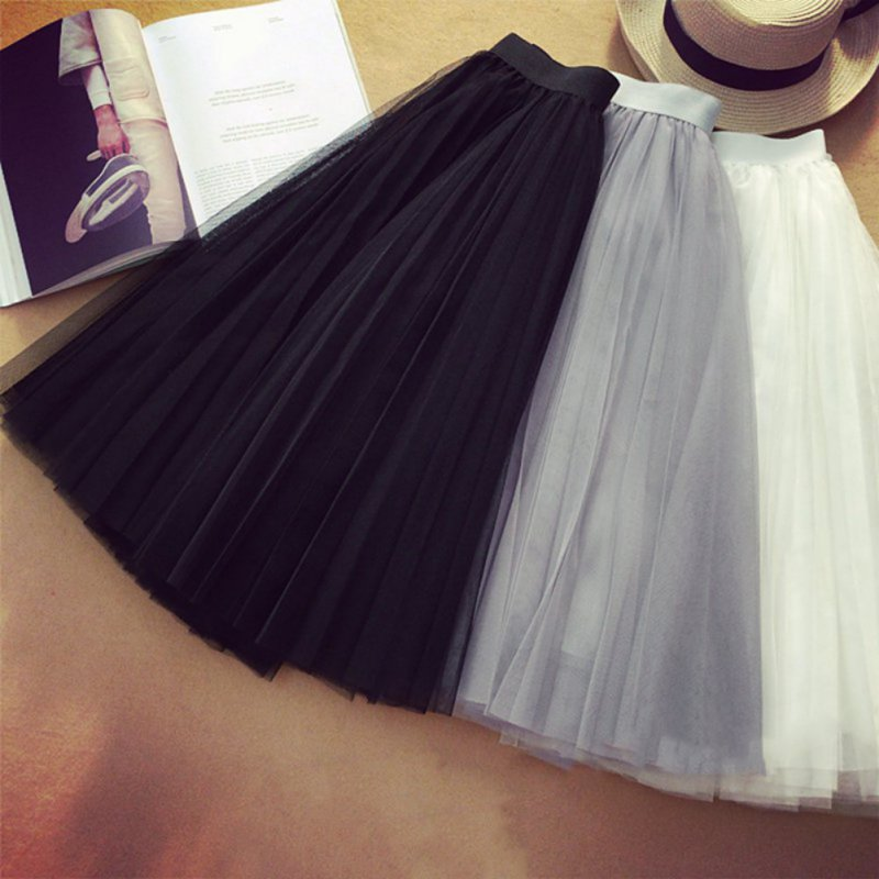 New Women Ballet Tulle Mesh Pleated Skirt Wedding Prom Rockabilly Bouffant Dress