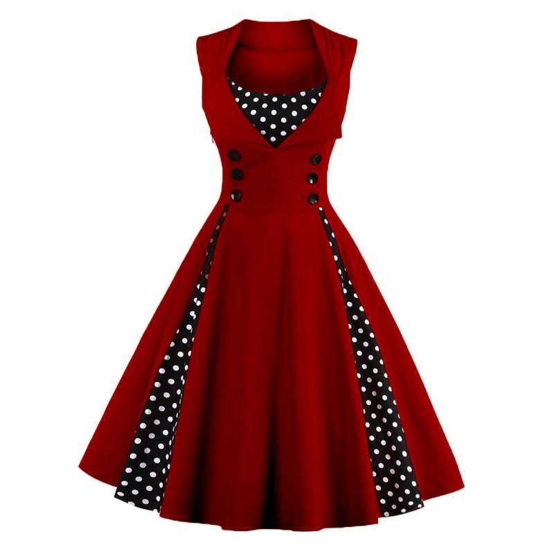 Women-039-s-Retro-50s-Swing-Polka-Dot-Dress-Pinup-Rockabilly-Evening-Party-Dress-NEW