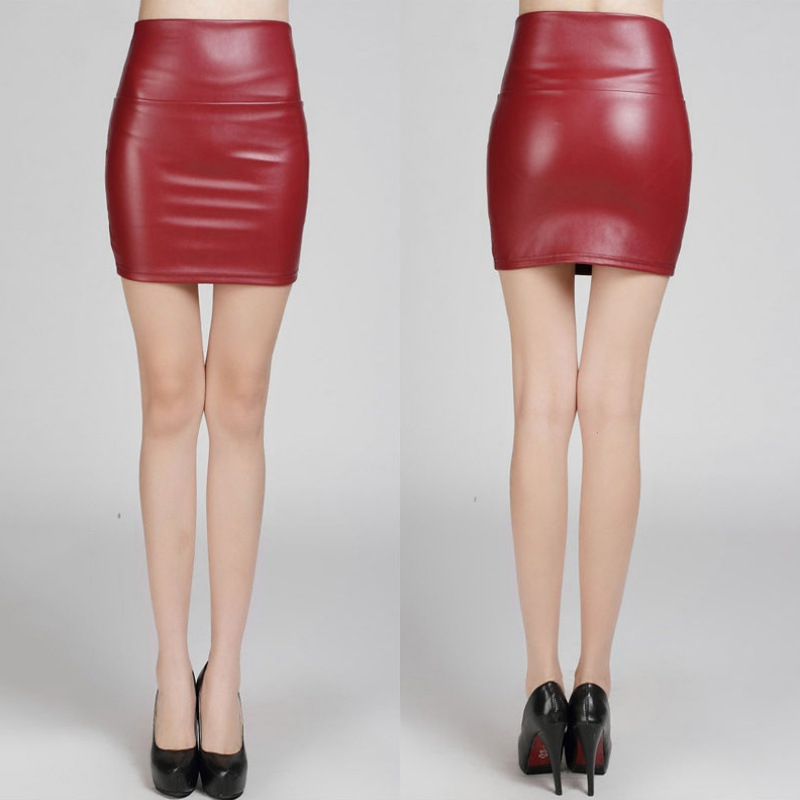 womens pu leather pencil bodycon skirt high