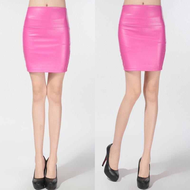 womens pu leather high waist mini dress pencil