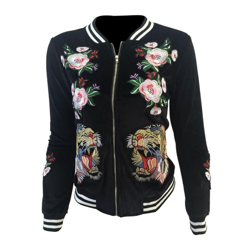Women Velvet Embroidered Tiger Bomber Jacket Women Sport Baseball Coat Outwear   EBay