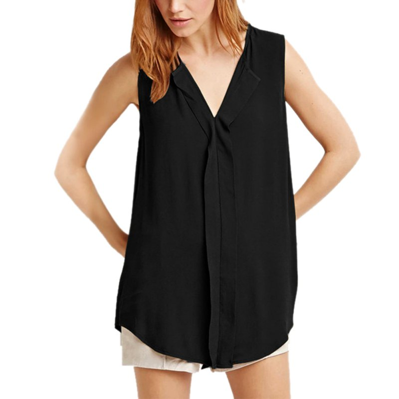 Plus size womens chiffon loose sleeveless v neck casual for Sleeveless shirts for ladies