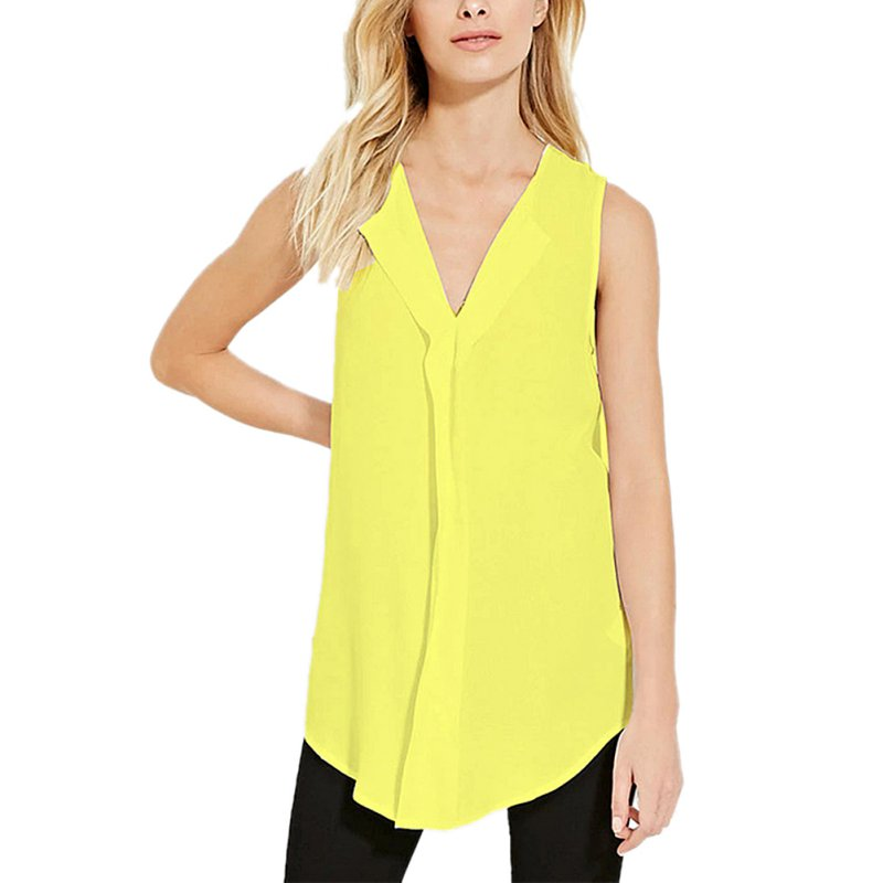 Summer Womens Plus Size Sleeveless Vest Tops Solid V Neck
