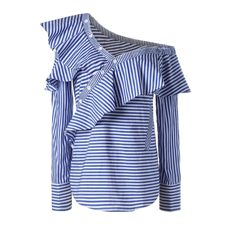 Women One Shoulder Off Ruffles Blue Stripe Shirt Casual