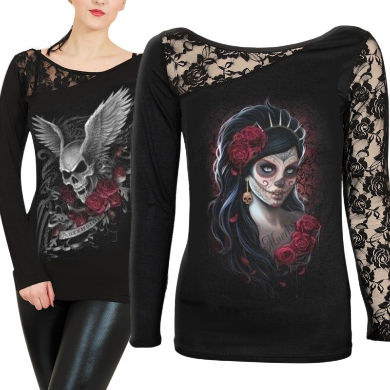 Women's Long Sleeve Gothic Lace Skull Print Tunic Blouse T ...