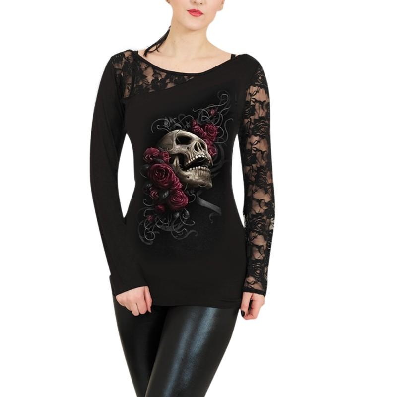 Plus size women 39 s gothic lace skull print blouse long for Plus size womens shirts