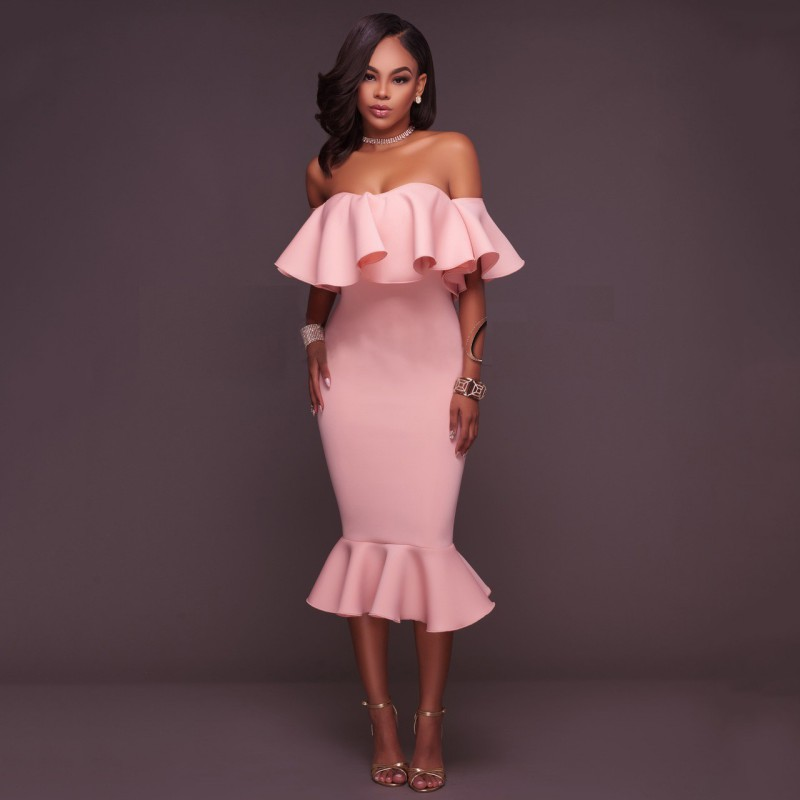 US Women Bandage Bodycon Ruffle Sleeve Evening Party Cocktail Pencil ...