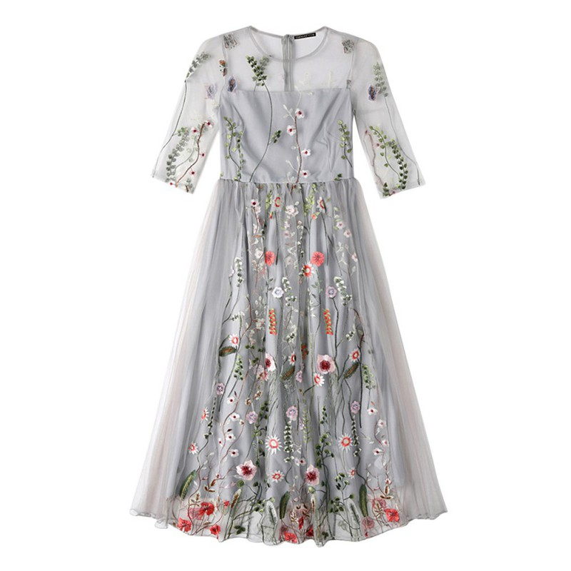 AU-Women-Floral-Embroidery-Long-Lace-Dress-Evening-Party-Cocktail-Prom-Dress