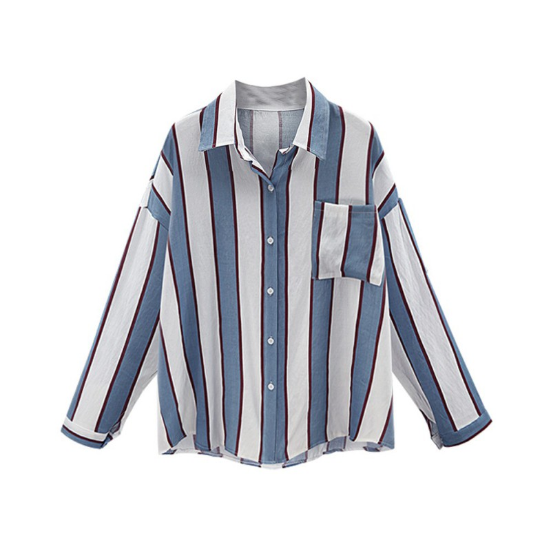 Women Long Sleeve Striped Shirt Casual Summer Blouse Ladies Loose T-shirt Tops