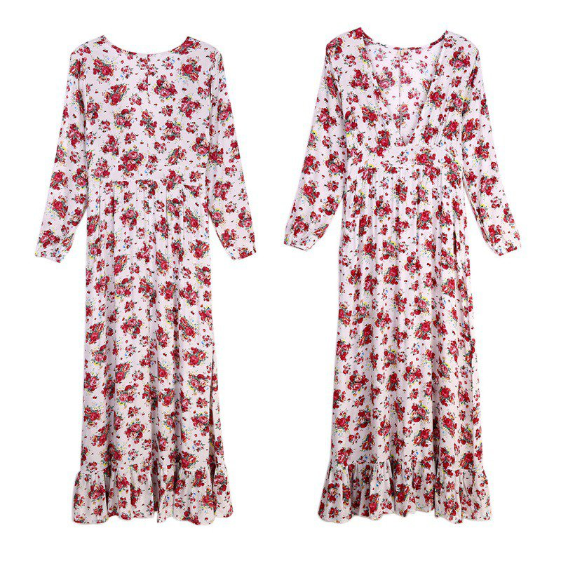 Women-039-s-V-Neck-Boho-Floral-Dress-Beach-Evening-Cocktail-Party-Maxi-Long-Dresses