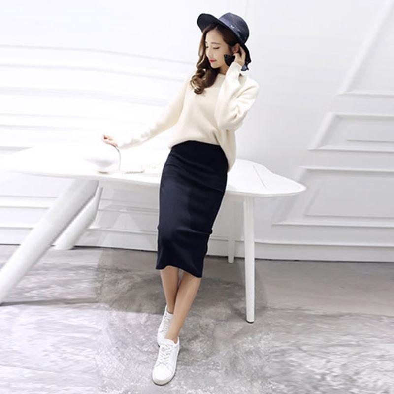 USA Women High Waist Bodycon Skirt Straight Stretch Pencil Midi ...