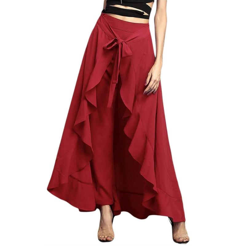 AU-Women-Chiffon-Stretch-Dress-Pants-Tie-Waist-Wrap-Wide-Leg-Loose-Party-Skirts