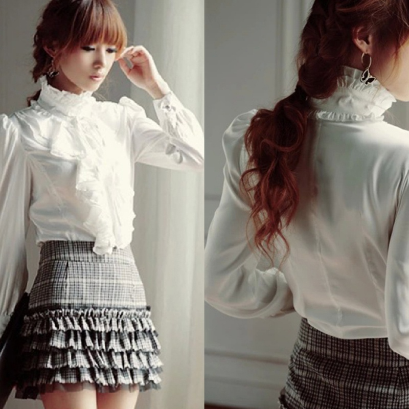 5747dc6b5efda0 Women s Vintage Victorian Shirt Long Sleeve Ruffle Trim Top Blouse ...