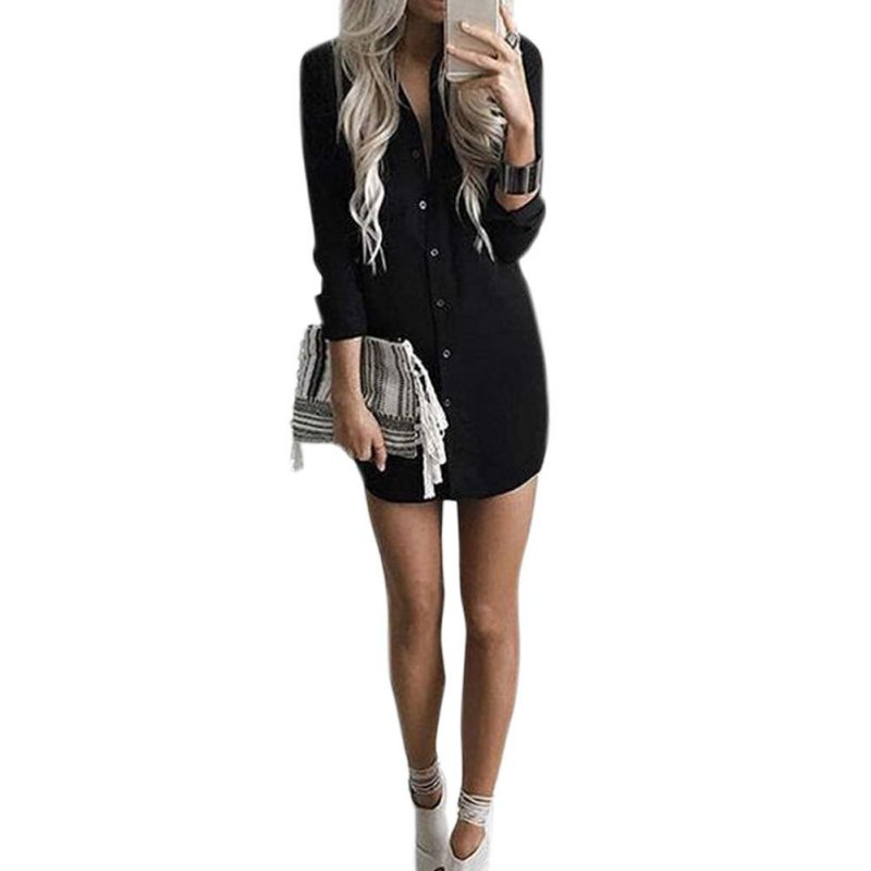 Womens button down bodycon blouse chiffon long sleeve Women s long sleeve shirt dress