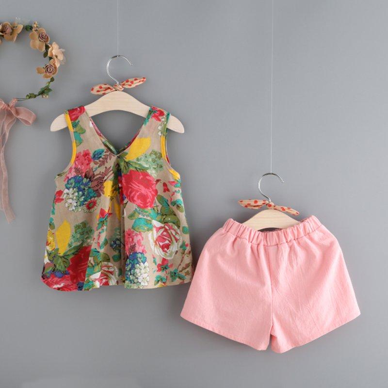 Summer Toddler Baby Girl Clothes Floral Vest Tops Shorts
