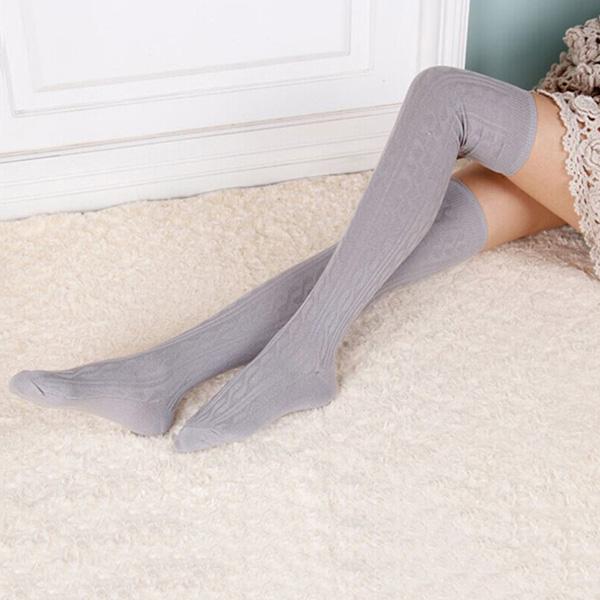 Women Over Knee Wool Knit Long Socks Winter Thigh-Highs Socks Warm Stocking J0G4