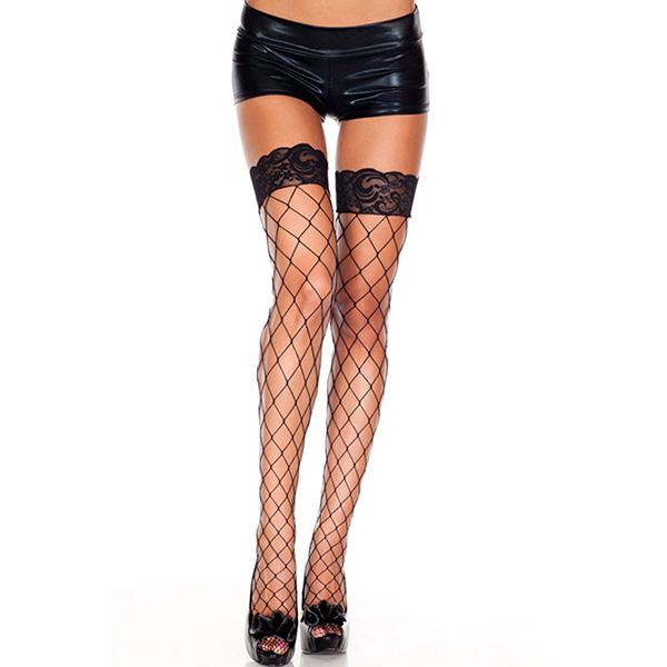 Fashion-Ladies-Hollow-Mesh-Stockings-Elastic-Socks-Lace-Top-Thigh-High-Stockings