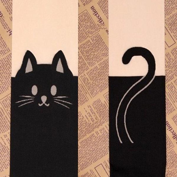 Women Girl Cat Tail Velvet Stockings Hosiery Tattoo Knee High ...