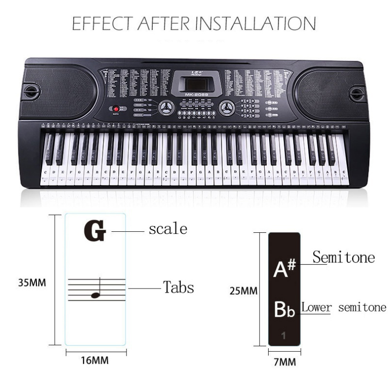 Piano-Keyboard-Stickers-Decal-Label-Note-37-49-61-88-Keys-For-Beginners-Learning thumbnail 14