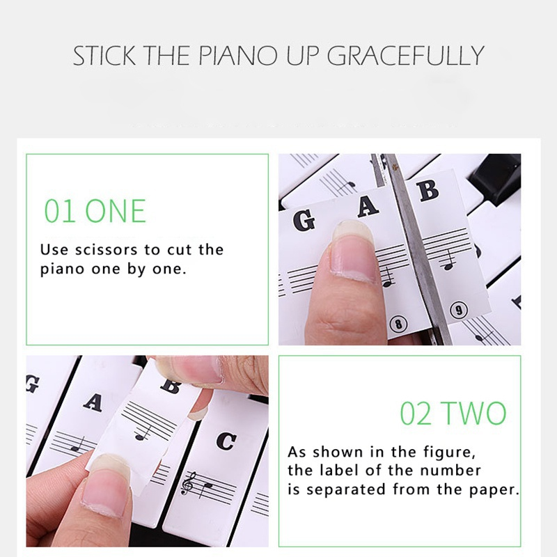 Piano-Keyboard-Stickers-Decal-Label-Note-37-49-61-88-Keys-For-Beginners-Learning thumbnail 15