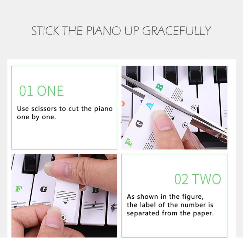 Piano-Keyboard-Stickers-Decal-Label-Note-37-49-61-88-Keys-For-Beginners-Learning thumbnail 20
