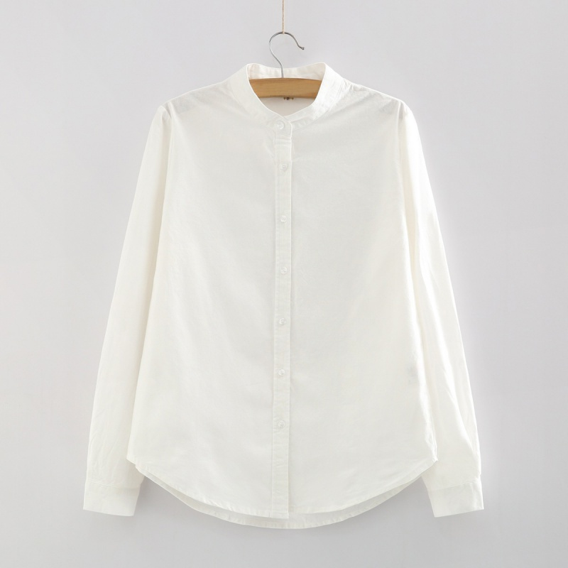 Women-Long-Sleeve-Collarless-Shirt-Casual-Cotton-Loose-Crew-Neck-Tops-Blouse