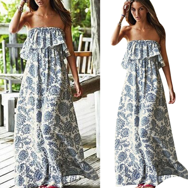 Y Women Boho Maxi Long Dress Summer Party