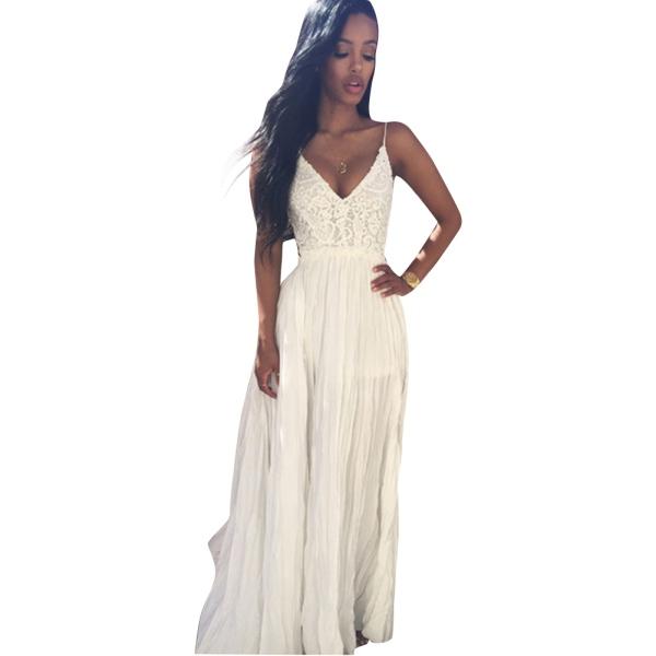 Original 2015 Beach Dress New Summer Style Sleeveless White Women Dress Casual