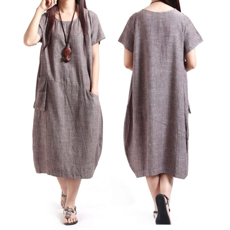 Ladies-Women-Casual-BOHO-Maxi-Loose-Skirt-Slim-Cotton-Linen-Long-Big-Size-Dress