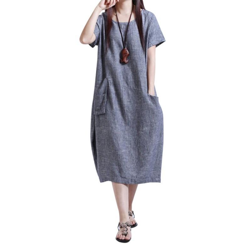 AU-Summer-Korean-Women-Cotton-Linen-Casual-Slim-A-Line-Tunic-Sundress-Mini-Dress