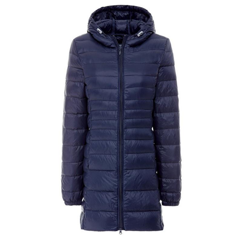 Winter Women Light Mid-Long Hooded Slim Fitted Zipper Down