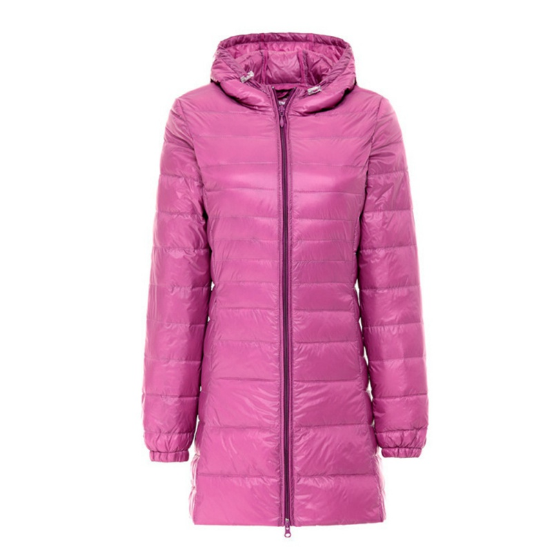 Winter Women Light Mid Long Hooded Slim Fitted Zipper Down