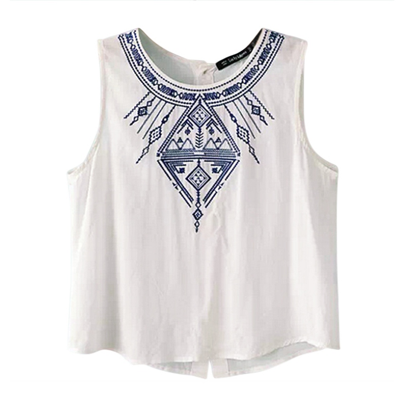 Ladies Casual Sleeveless T Shirt Round Neck Back Button