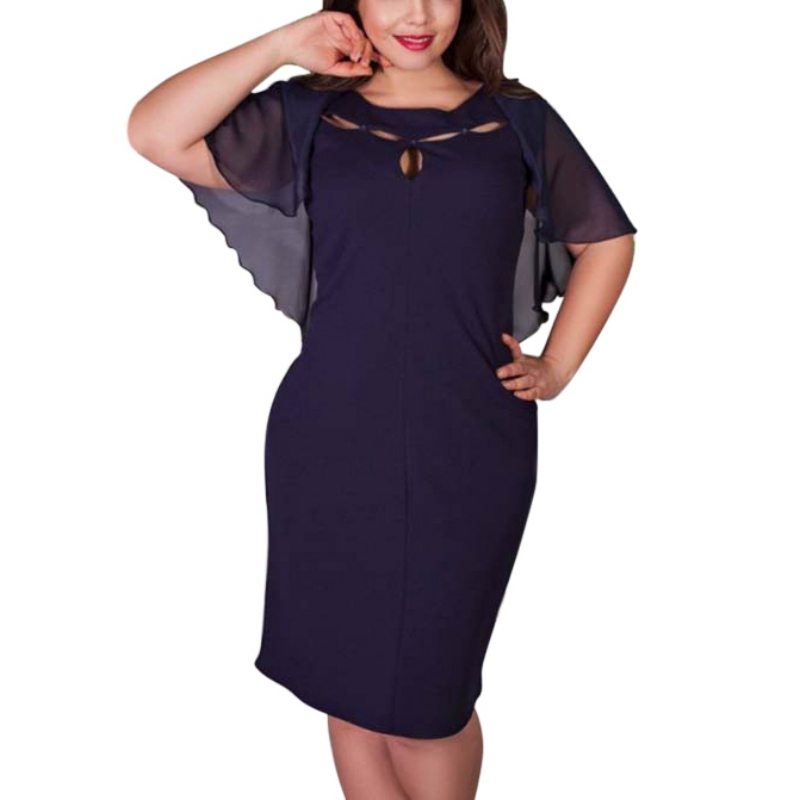 Fashion Women Hollow Out Plus Size Summer Casual Solid Short Sleeve
