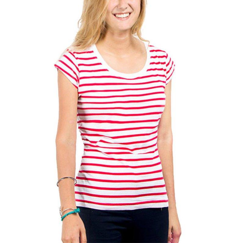 Women ladies cute cartoon print top short sleeve slim t for Best striped t shirt