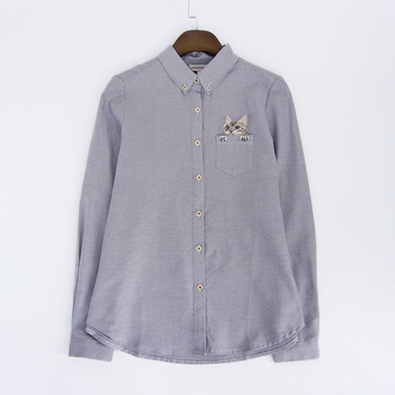 Womens cat embroidery shirt casual long sleeve blouse for Button down t shirts