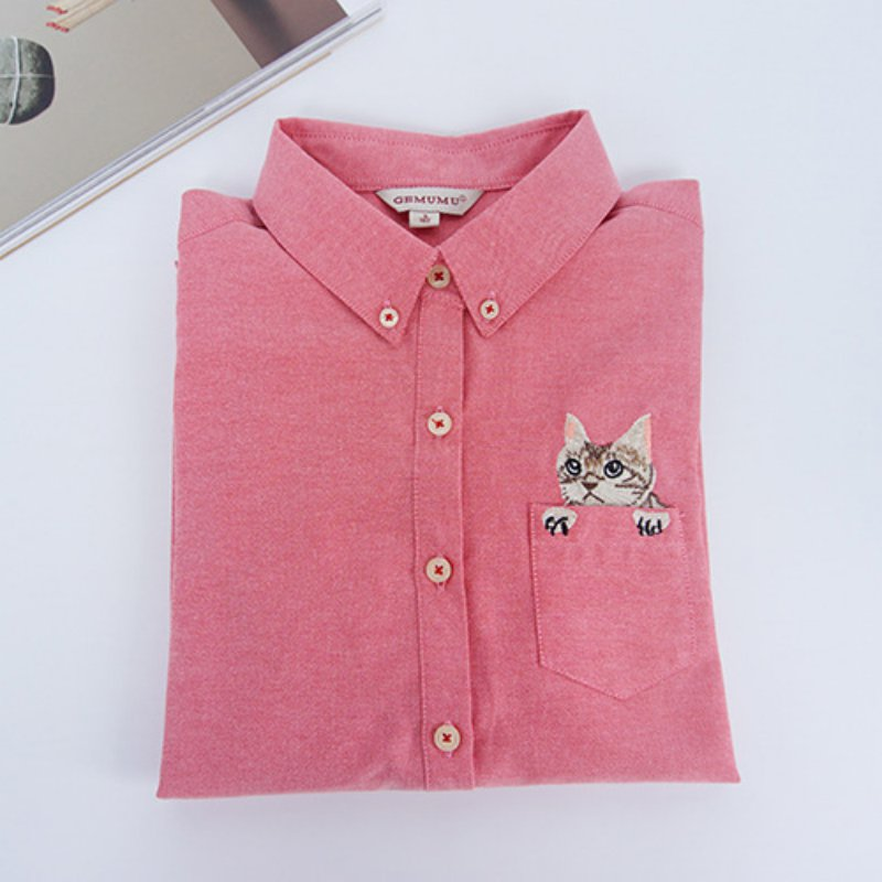 Womens cat embroidery shirt casual long sleeve blouse